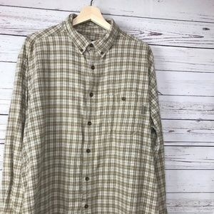 Woolrich Tan Taupe Plaid Button Down L/S Size XL